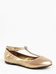 New Breckelle's Women T Strap Ballet Mary Jane Flats Metallic Sz Gold CHERRY12 | eBay
