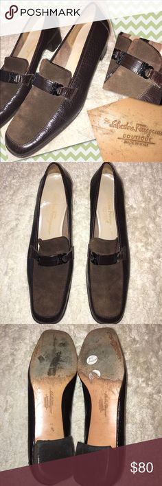Salvatore Ferragamo Chocolate Brown Heels *Used* vintage chocolate brown Salvatore Ferragamo 1.75 inch loafer heels with a crocodile pattern. Features leather & suede. Size 9.5. Made in Italy. See photos for wear. ✨BUNDLE+SAVE✨ Salvatore Ferragamo Shoes Heels