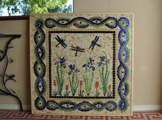 Mosaic With Iris Flowers And Dragonflys by Carol Lancour