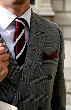plaid suiting with maroon
