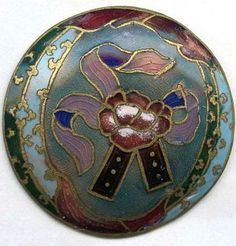 Ribbon and Flower Enamel button
