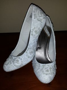 DIY Shoes - There's no website attached, but this is my inspiration for a pair of DIY lace pumps I want to make! A quick internet search will tell you how to do this.