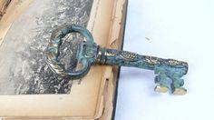 German Vintage Corkscrew, key wine opener, old brass corkscrew, solid brass bottle opener, skeleton key, antique corckscrew