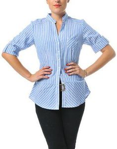 (CLICK IMAGE TWICE FOR DETAILS AND PRICING) Ivy League Striped Blouse Sky. This preppy blouse looks great paired with everything from jeans to skirts. Wear it to the office with  pants, or on weekends with jeans and moccasins.. See More Tops at http://www.ourgreatshop.com/Tops-C74.aspx