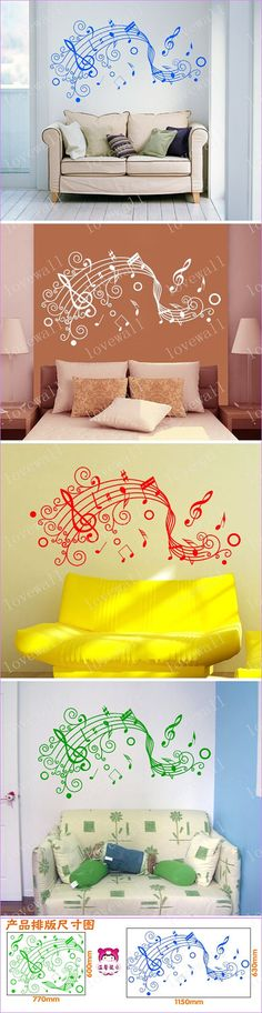 flying music note song Staff notation Vinyl Wall Decal Sticker glass window living bed room room paste Art decor Home Murals 1295. $30.00, via Etsy.
