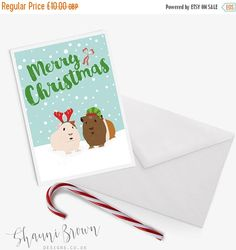 Guinea Pig Christmas Card | Greetings cards | Guinea Pigs | Shauni Brown Designs This listing is for x10 A6 Guinea PigChristmas Cards in the