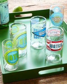 """Spring Water"" Glassware"