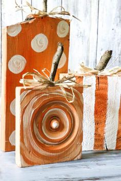 Fun and Easy DIY Scrap Wood Pumpkins! The little stems are simply sticks from the yard, and the wood is scraps found on the ground or around the house! Diy Pumpkin, Pumpkin Crafts, Fall Crafts, Holiday Crafts, Scrap Wood Crafts, Scrap Wood Projects, Craft Projects, Craft Ideas, Scrap Wood Art