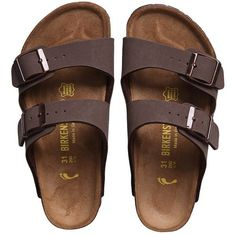 Birkenstock Brown Two-Strap Sandals (Arizona) (73 CAD) ❤ liked on Polyvore featuring shoes and sandals