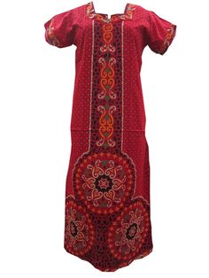Hot Red Cotton Sleepwear Beautiful Printed Long Night Wear Dress