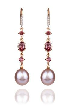 Beautiful mix of gems. .07ctw Diamond, Tourmaline & Pearl Dangle Earrings