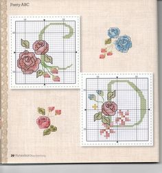 Helene Cross Stitch flower Alphabet TWO Cross Stitch Letters, Cross Stitch Flowers, Cross Stitch Charts, Plastic Canvas Letters, Flower Alphabet, Christmas Embroidery Patterns, Alphabet Design, Alphabet And Numbers, Monogram Letters