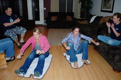 Magic Carpet Ride: The contestant must sit on and move a bath mat using the inchworm technique to navigate around three obstacles and back to the finish line.