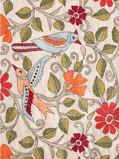 The Birds Scarf is handmade by the women of Self Help Enterprises in India using the Kantha stitching technique, a centuries-old running stitch used for joining
