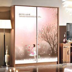 Custom glass film the living room entrance doors sliding door wardrobe door mirrors affixed stickers Autumn Fairy Tale(China (Mainland))