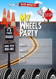 FREE Kids Party Invitations: Wheels Invitation