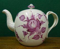 Antique English Creamware Wedgwood puce enamel dec. pottery Tea Pot  c1780  in Antiques, Decorative Arts, Ceramics & Porcelain, Plates & Chargers | eBay