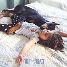 Cutie and the Beast. #Doberman