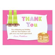 Pajamas and Pancakes Birthday Party Thank You Card