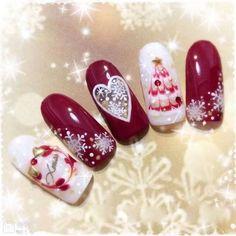 Simple Easy Christmas Nail Acrylic Arts Designs - Christmas Nails - Best Nail World Nail Art Noel, Xmas Nail Art, Xmas Nails, Christmas Nail Art Designs, Winter Nail Art, Holiday Nails, Winter Nails, Christmas Nails, Valentine Nails