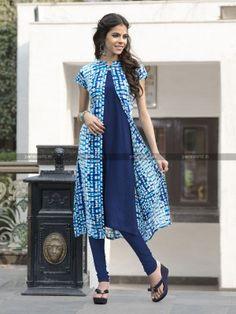 Blue Rayon Cotton Lovely Designer Kurti