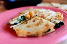 LOVED these!!  Definitely making again! butternut squash and kale quesadillas --via The Pioneer Woman