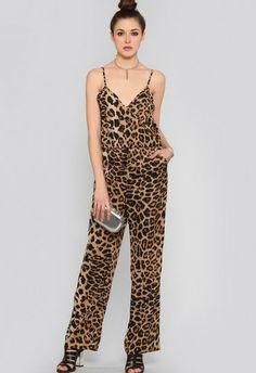 Leopard Spaghetti Strap Pockets Loose Jumpsuit