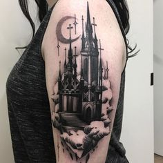 Dark and atmospheric haunted castle by Lauren Melina, an artist working at Adorned Empire in Fremantle, Western Australia.