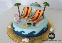 "Want this beach themed Retirement Cake! "" Feet in the water, Butt in the sand""<3"
