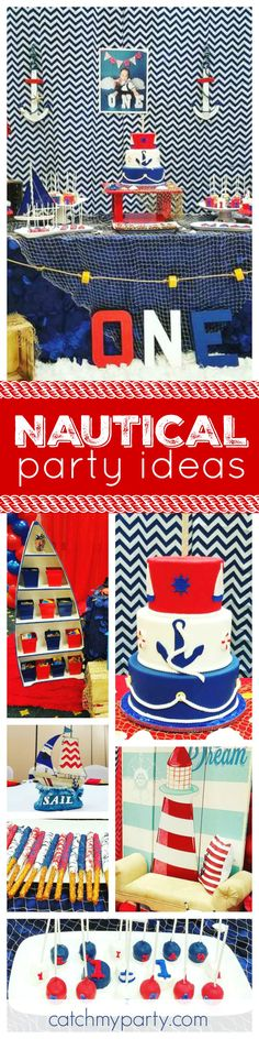 Check out this great Nautical 1st birthday party. The birthday cake is fabulous! See more party ideas and share yours at CatchMyParty.com