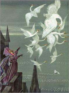 Hans Christian Andersen The Wild Swans - illustration by Nika Goltz Hans Christian, Fairytale Art, Swan Lake, Swans, Illustrations And Posters, Children's Book Illustration, Illustrators, Fantasy Art, Fairy Tales