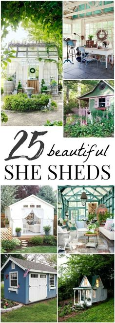 25 beautiful and inspirational  She Sheds- a perfect getaway in your own backyard! Garden Sheds, Backyard Sheds, Roof Storage, Backyard Storage, Storage Sheds, Diy Storage Shed Plans, Diy Shed, Outdoor Storage, Shed Houses