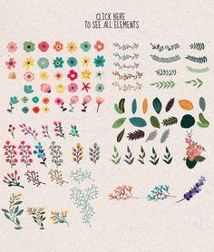 The big flower bundle by CLIPART GARDEN on @creativemarket