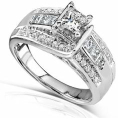 7/8ct TW Princess Diamond Engagement Ring in 14k White Gold - Size 4.5