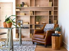 In an episode of HGTV's Fixer Upper, designer Joanna Gaines used tan leather in her clients' office in the form of an armchair.