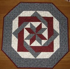 Patriotic Quilted Table Topper Navy Blue Maroon and by HollysHutch