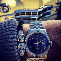 Fan Instagram Pic !   @_dominkafl_ posted a cool photo of his diamond-encrusted Rolex Datejust Watch nicely paired with our Black Nappa Leather & Silver Twin Skull Bracelet. Nice combo !   Available now at Northskull.com   For a chance to get featured post a cool photo of your Northskull jewelry with the tag #Northskullfanpic on Instagram.