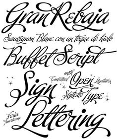 Here are two new calligraphy fonts that I LOVE from type foundry Veer. Buffet script and Feel script by Alejandro Paul. Feel script is based on Rand Holub's calligraphy and Feel script is based on Alf Becker, one of America's best sign lettering artist. Calligraphy Fonts, Typography Fonts, Typography Design, Calligraphy Alphabet, Font Alphabet, Script Lettering, Lettering Styles, Fancy Fonts, Cool Fonts