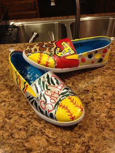 Softball Painted canvas shoes