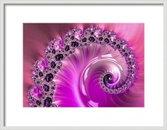 Pink girly spiral Framed Art Print: pretty pink, orchid, violet and black fractal spiral. Beautiful, glossy and luxe - hang it in your living room, bedroom or girls room to explore and enjoy this artwork every day. Lots of different image sizes and frames available, every purchase comes with a 30 days money back guarantee. (c) Matthias Hauser hauserfoto.com - Art for your Home Decor and Interior Design needs.