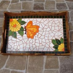 Tray with Mosaic flowers and butterfly. Mosaic Patio Table, Mosaic Tray, Ceramic Mosaic Tile, Stone Mosaic, Mosaic Wall, Mosaic Glass, Mosaic Mirrors, Stained Glass, Mosaic Crafts