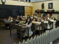 .antique doll school room display.  Incredible! !