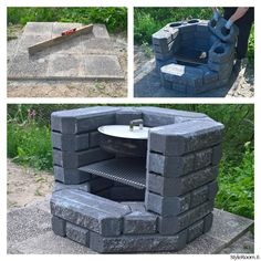 Diy Outdoor Kitchen With Fireplace 33 Ideas For 2019 Easy Fire Pit, Fire Pit Grill, Cool Fire Pits, Fire Pit Backyard, Backyard Patio, Backyard Landscaping, Design Grill, Brick Grill, Diy Outdoor Fireplace