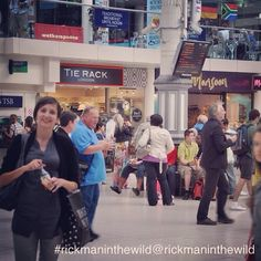 Snapped at Victoria Station (?) London, date and OP unknown. #alanrickman #rickmaninthewild