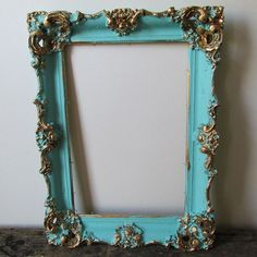 Ornate wood gesso frame wall hanging chippy painted distressed ocean blue shabby French antique home decor anita spero design