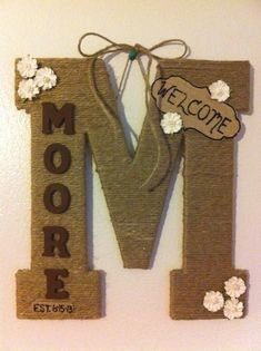 Twine Wrapped Family Letter by LittleWoodenCreation on Etsy Twine Wrapped Letters, Twine Letters, Door Letters, Hanging Letters, Yarn Letters, Craft Letters, Letter Wreath, Home Crafts, Diy And Crafts