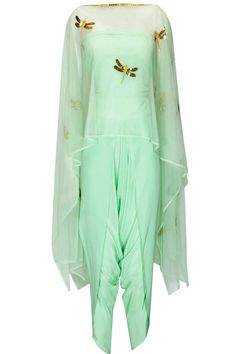 Mint dragonfly cape top with draped dhoti pants available only at Pernia's Pop Up Shop.