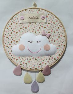 Quadro porta maternidade em bastidor com o tema nuvem. Contato: ateliesonhosepanos@hotmail.com