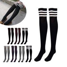 Donne di disegno di modo della ragazza sopra il ginocchio calze coscia alta calze spesse stripe come calze a strisce di colore solido 7 scelta