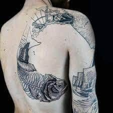 What does woodcut tattoo mean? We have woodcut tattoo ideas, designs, symbolism and we explain the meaning behind the tattoo. Finger Tattoos, Body Art Tattoos, Sleeve Tattoos, Unique Tattoos, Cool Tattoos, Woodcut Tattoo, Create A Tattoo, Etching Tattoo, Skeleton Tattoos